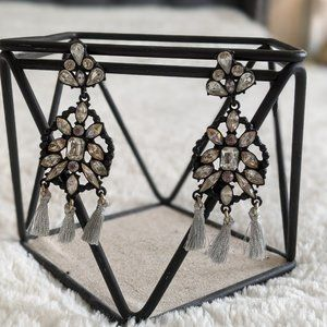 Bauble Bar Black and Crystal Statement Earrings